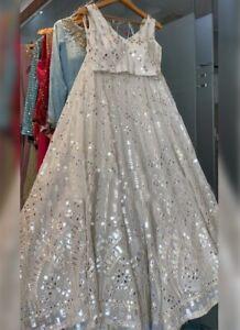 Choli Bridal Lehenga Lengha Wedding Pakistani White Resham Mirror Sari Lehanga