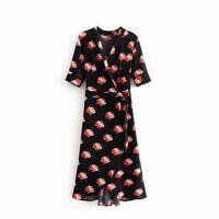Floral Print Red Peony Black Midi Dress, Kimono Women Girls Skirt, M S UK 8 10