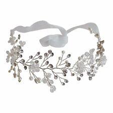 Vintage Bridal Hair Wire Wedding Headband Crystal Floral H210 Silver