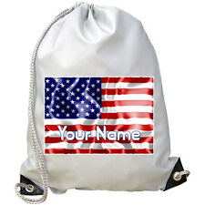 USA UNITED STATES PERSONALISED GYM / PE / SWIMMING BAG - GREAT KIDS GIFT & NAMED
