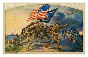 WWI Marines Recruiting Postcard,Marines Charge,Flags,Stockinger Publisher