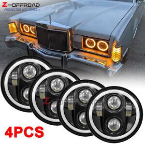 "4X 5 3/4"" 5.75inch LED Headlights HI/LO DRL Halo Projector For Peterbilt 349 359"