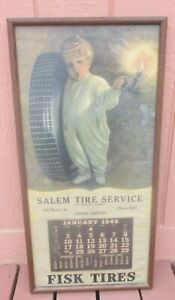 "Vintage Original 1949 FISK TIRE Time to Retire Calendar Sign 17"" W x 34"" Tall"