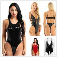 Sexy Women's Wet Look Leather High Cut Leotard Thong Bodysuit Swimwear Nightwear
