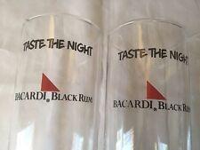 "Set of 2 Bacardi Black Rum Tall Glasses ""Taste The Night""1990 Bubble Bottom Rare"