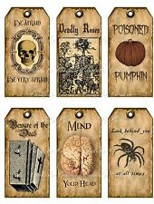 Vintage inspired 18 Halloween spider brain skeleton scrapbooking crafts tag