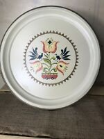 VTG Hand Painted Metal Tray Nashco Products Rooster~Flowers~Hearts
