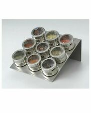 New 9 Pcs Magnetic Spice Canister Set Small Jar / Box Kitchen Herbs Storage Gift