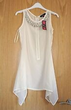 Rare Cream white chiffon vest top with embroidered pearls size 6 *BNWT* RRP £34