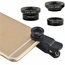 Black 3 in 1 Fish Eye + Wide Angle Micro Lens Camera Kit for iPhone Samsung