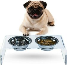 New listing Acrylic Elevated Feeding Stand with 2 Stainless Steel Food Container for Pets