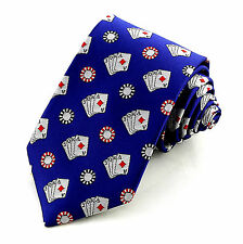 Poker Mens Necktie Gambling Blue Neck Tie Casino Game Cards Gambler Dress New