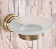 Antique Brass Bathroom Shower Soap Dish Storage Wall Mounted Glass Soap Holder