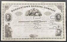 BORDENTOWN BANKING COMPANY Stock 1920. New Jersey Inc. 1851.  BEAUTY  VF++