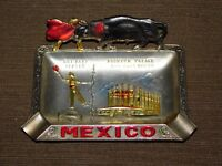 "VINTAGE 4 1/2"" X 3"" SOUVENIR MEXICO METAL BULL FIGHTER CIGARETTE ASHTRAY"