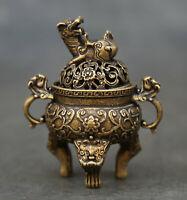 "6.5/"" Collect Chinese Paktong Two dragon play pearl Pixiu lion leg Incense Burner"