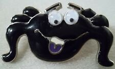 Moving Eyes in Silver Plate, New Halloween Spider Vintage Brooch Pin with