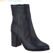 Marc Fisher Studded Leather Ankle Boots Navy Dark Blue Piazza Women's Size 6.5