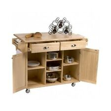 Kitchen Center Island Rolling Storage Cabinet Cart Movable Wooden Stand Hardwood