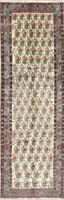 Hand-Knotted All-Over Floral Ivory Kirman Oriental Runner Rug Wool 3'x9'