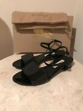 $575 Burberry English Lace Black Patent Leather Adenvale Flat Sandal 39 New