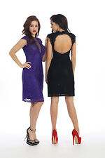 TheDressOutlet Plus Size Short Cocktail Sequins Mesh Lace Dress with Cut of Back