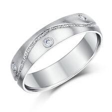 9ct White Gold Diamond Ring Set Wedding Ring Band 5mm 6mm