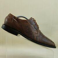 David Eden Mens Shoe Size 9 Genuine Crocodile Lizard Brown Handmade Oxfords #F79