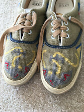 VANS Shoes-Lace Ups-Vintage-ANCHOR-Needlepoint-Made in USA-Womens 12-Nautical