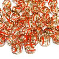G2711 Clear w Red & Gold Swirls 12mm Round Blown Lampwork Glass Beads 10pc