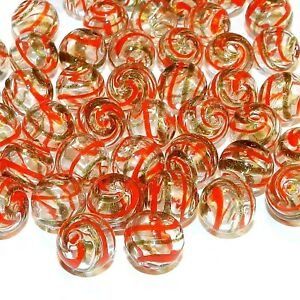 GL2711 Clear w Red & Gold Swirls 12mm Round Blown Lampwork Glass Beads 25pc