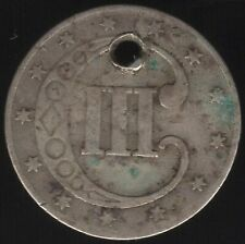 More details for 1853 u.s.a. silver 3 cents 'holed' | world coins | pennies2pounds