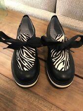 CATERPILLAR Women's Shoes Size US 6 Black/Zebra Print Platform Mary Jane Ribbon