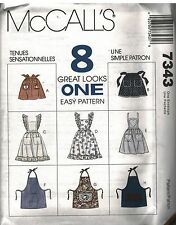 7343 UNCUT VTG McCalls Sewing Pattern 8 Aprons Cobbler Half Barbecue Ruffled OOP