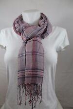 Écharpe chèche foulard étole à carreaux marron rosé