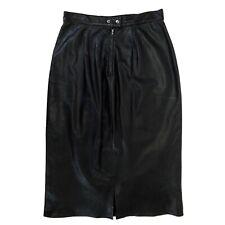 Vintage Cedars Womens Black Genuine Leather Long Skirt Size 12 Snap Button Zip
