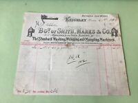 Keighley Iron Works Washing Wringing & Mangling Machines1890 Receipt Ref 49931