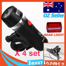 4 x Set Bike Front Bicycle LED Torch Rear Cycling Flashlight Waterproof Light AU