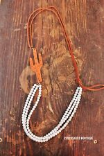 New Western Layered Pearls with Leather Cactus Cowgirl Bling Rodeo Country