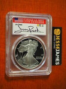 1986 S PROOF SILVER EAGLE PCGS PR70 DCAM JIM PEED HAND SIGNED FLAG LABEL