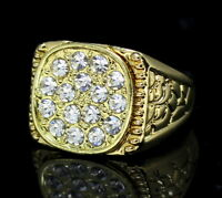 Mens Nugget Design Pinky Ring 14k Gold Plated Iced Cz Hip Hop Jewelry