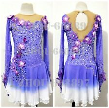 Competition Figure Skating Dress Girl Ice Skating Dress deep purple lace flowers