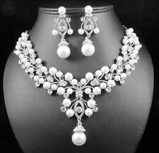 Pearl Cluster Austrian Rhinestone Crystal Necklace Earring Set N818S Rhodium Pla