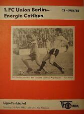 Programm 1984/85 Union Berlin - Energie Cottbus