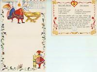 CHRISTMAS VILLAGE SNOW 1 VINTAGE BAKER DOUGH BUTTER CHURN NUT SQUARE RECIPE CARD
