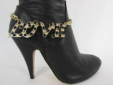 Beads Love Strap Gold Chain Hot Women Fashion Jewelry Boot Anklet Bracelet Black