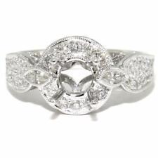 0.65 TCW Natural Diamond Halo Semi-Mount Setting Ring 18k Gold Size 6.5