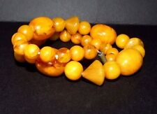ANTIQUE ART DECO EGG YOLK BUTTERSCOTCH BAKELITE NECKLACE. CHUNKY. LARGE BEADS. F