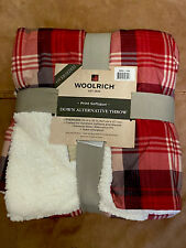 NWT: Woolrich Tasha Oversized Softspun Down Alternative Throw Red Plaid Blanket
