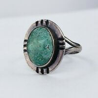 Vintage Sterling Silver 925 Mexico Green Turquoise Ring Size 7.75